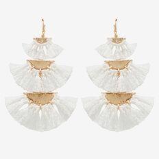 Tiered Tassel Earrings  CREAM/GOLD  hi-res