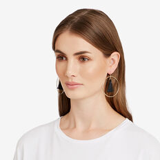 Tassel Hoop Earrings  GOLD/BLACK  hi-res