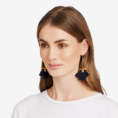 Drop Fringe Earrings  NAVY/GOLD  hi-res
