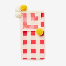 Gingham Pom Pom Blanket  SOFTEST PINK  hi-res