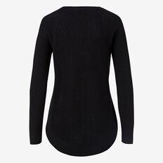 Curve Hem Zip Sweater  BLACK  hi-res