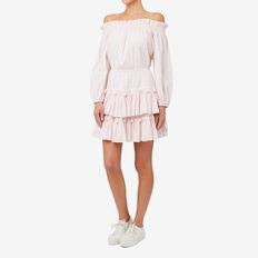 Off Shoulder Pom Pom Dress  LIGHT PINK  hi-res