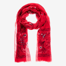 Botanical Scarf  DUSTY RED  hi-res