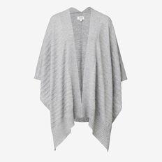 Rib-Knit Poncho  GREY MARLE  hi-res