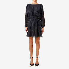 Drop Waist Dobby Dress  BLACK  hi-res