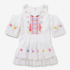 Embroidered Pom Pom Dress  WHITE  hi-res