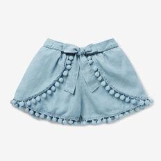 Tie-Waist Chambray Shorts  SEA BLUE WASH  hi-res