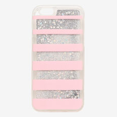 Stripe Glitter Phone Case 6  LIGHT PINK  hi-res