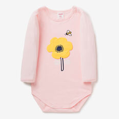 Flower Bee Applique Bodysuit  SOFTEST PINK  hi-res