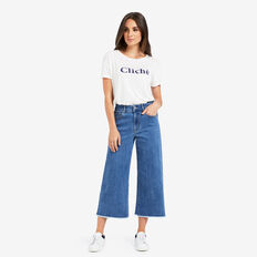 Wide Leg Frayed Jean  DEEP BLUE DENIM  hi-res