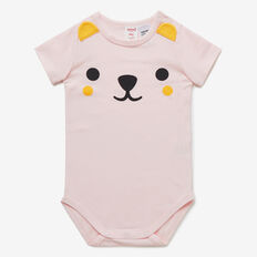 Novelty Bear Bodysuit  SOFTEST PINK  hi-res