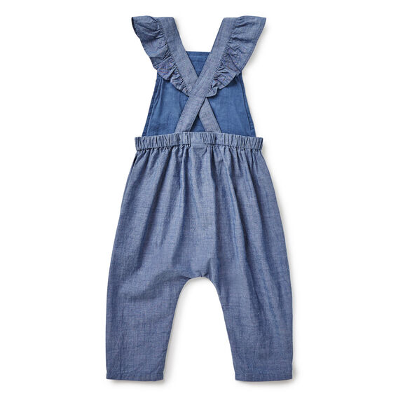 Embroidered Chambray Romper  WASHED CHAMBRAY  hi-res