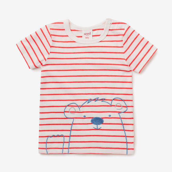 Stripe Bear Tee  STRAWBERRY RED  hi-res