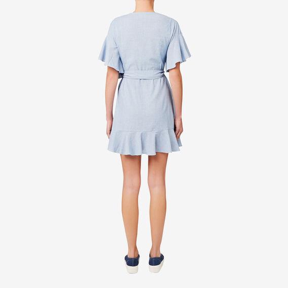 Wrap Front Frill Dress  STRIPE  hi-res