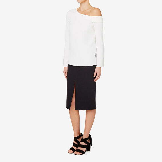 Pencil Split Skirt  BLACK  hi-res