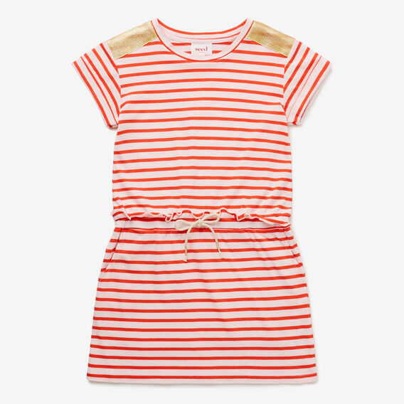 Stripe Tie Waist Dress  POPPY RED  hi-res