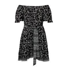 Off Shoulder Printed Dress  MULTI  hi-res