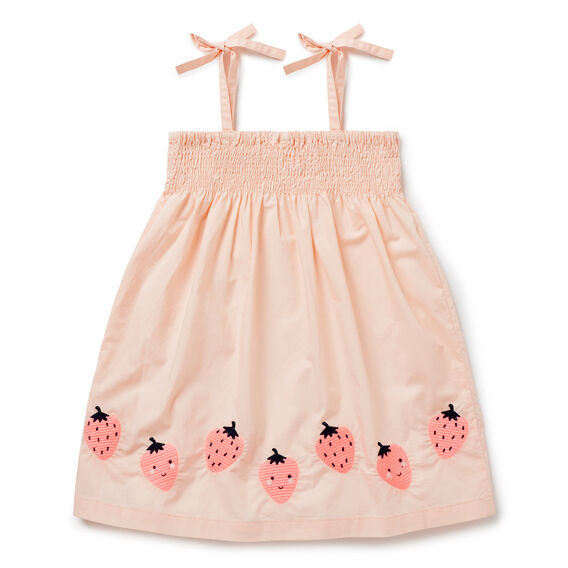 Strawberry Embroidered Dress  FUZZY PEACH  hi-res