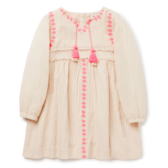 Embroidered Dress  OATMEAL  hi-res