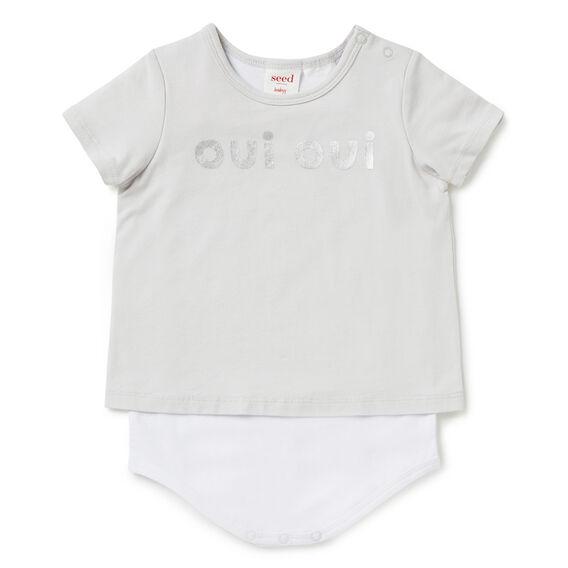 'Oui Oui' Layer Bodysuit  DOVE GREY  hi-res