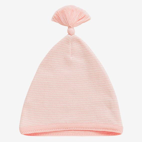Knit Stripe Tassel Hat  BRIGHT APRICOT  hi-res