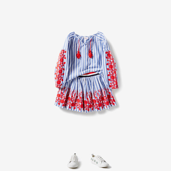 Floral Stripe Skirt  BLUE SKY  hi-res