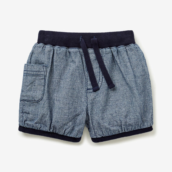 Rib Trim Woven Short  INK BLUE  hi-res