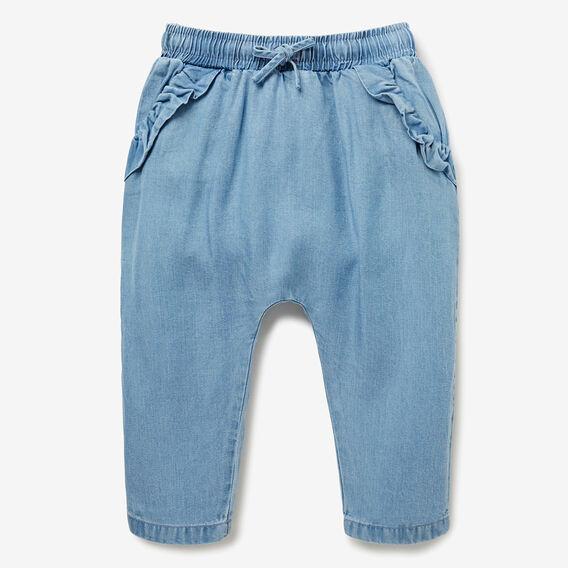 Frill Pocket Harem Pant  SEA BLUE WASH  hi-res
