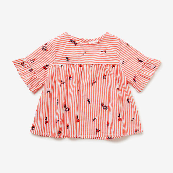 Stripe Embroidered Top  POPPY RED  hi-res