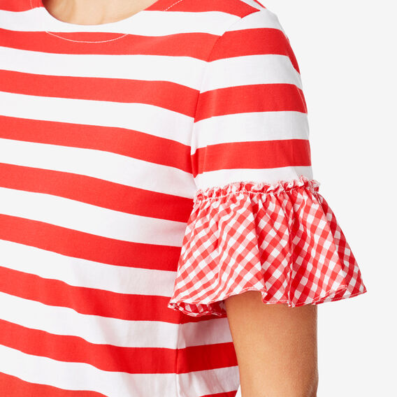 Gingham Frill Tee  ROYAL RED STRIPE  hi-res