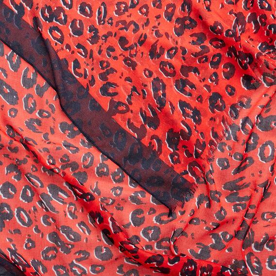 Ocelot Border Scarf  ROYAL RED  hi-res