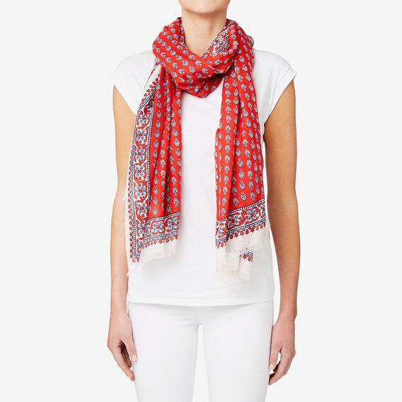 Paisley Floral Scarf  ROYAL RED  hi-res