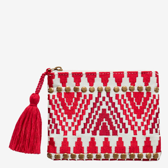 Embroidered Coin Purse  RED  hi-res