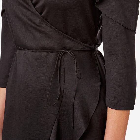 Wrap Frill Dress  BLACK  hi-res