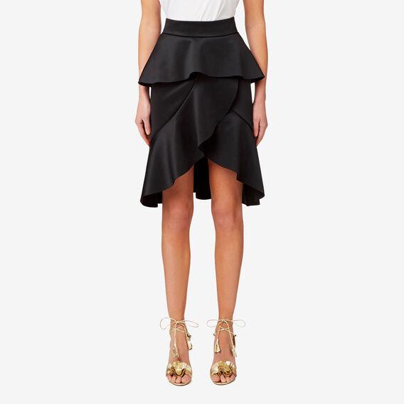 Wrap Front Frill Skirt  BLACK  hi-res