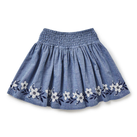 Embroidered Skirt  WASHED CHAMBRAY  hi-res