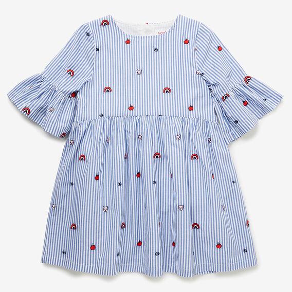 Stripe Embroidered Dress  BLUE SKY  hi-res