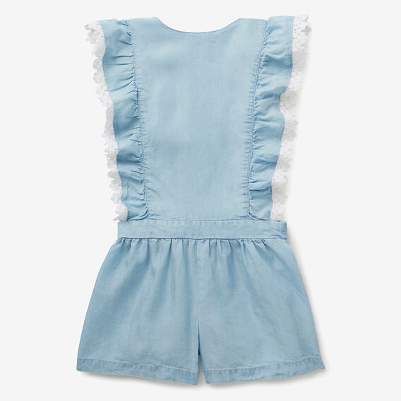 Chambray Crochet Playsuit  SOFT BLUE  hi-res