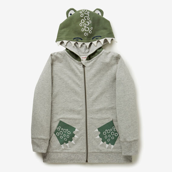 Zip Up Croc Hoodie  SMOKE GREY MARLE  hi-res