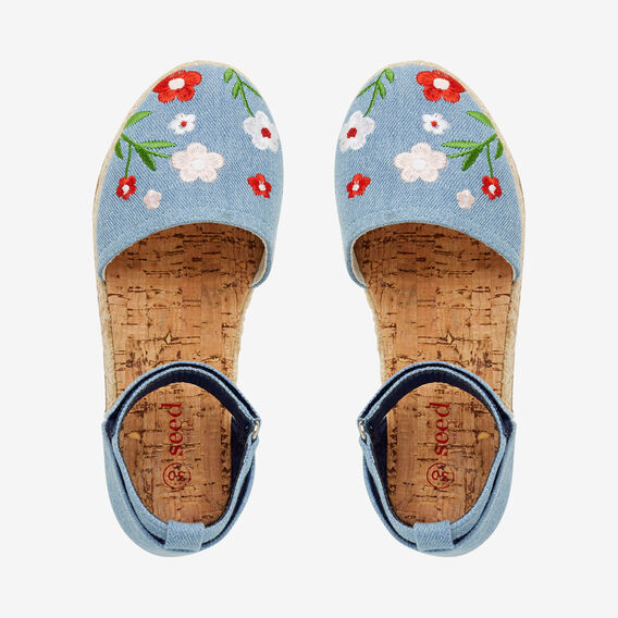 Embroidered Flower Espadrille  CHAMBRAY  hi-res
