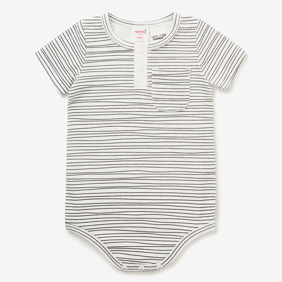 Henley Stripe Bodysuit  SLATE  hi-res