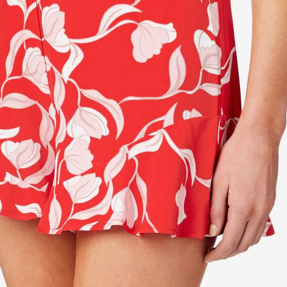 Peplum Hem Short  ROYAL RED FLORAL  hi-res