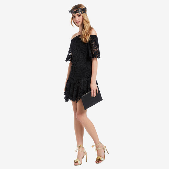 Off Shoulder Frill Dress  BLACK  hi-res