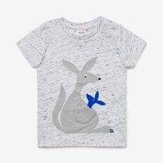 Novelty Kangaroo Tee  VINTAGE WHITE MARLE  hi-res