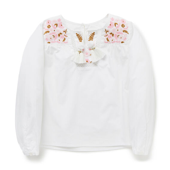 Embroidered Smock Top  WHITE  hi-res
