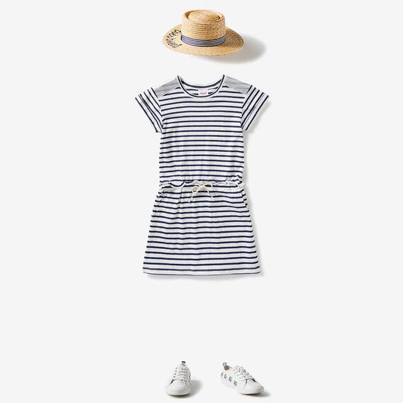 Stripe Tie Waist Dress  BLUE SKY  hi-res