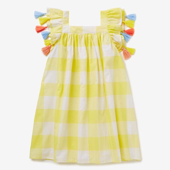 Gingham Tassel Dress  LEMON YELLOW  hi-res