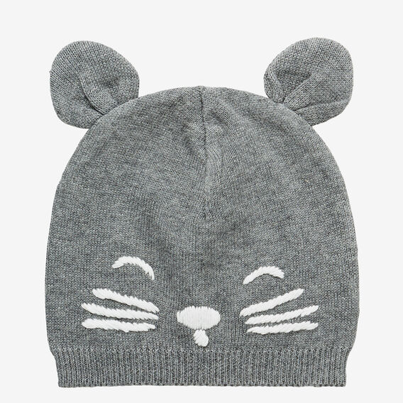 Novelty Face Knit Beanie  SLATE MARLE  hi-res