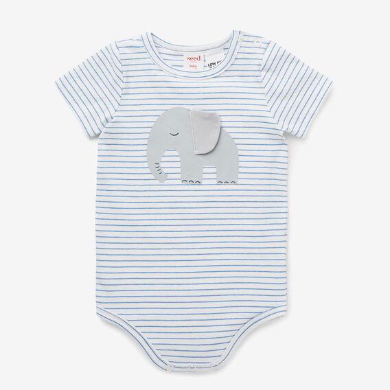 Stripe Elephant Bodysuit  FRENCH BLUE  hi-res
