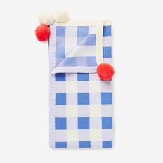 Gingham Pom Pom Blanket  MISTY BLUE  hi-res